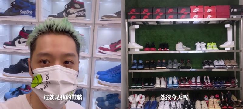 周湯豪曬出 DIY 鞋牆。