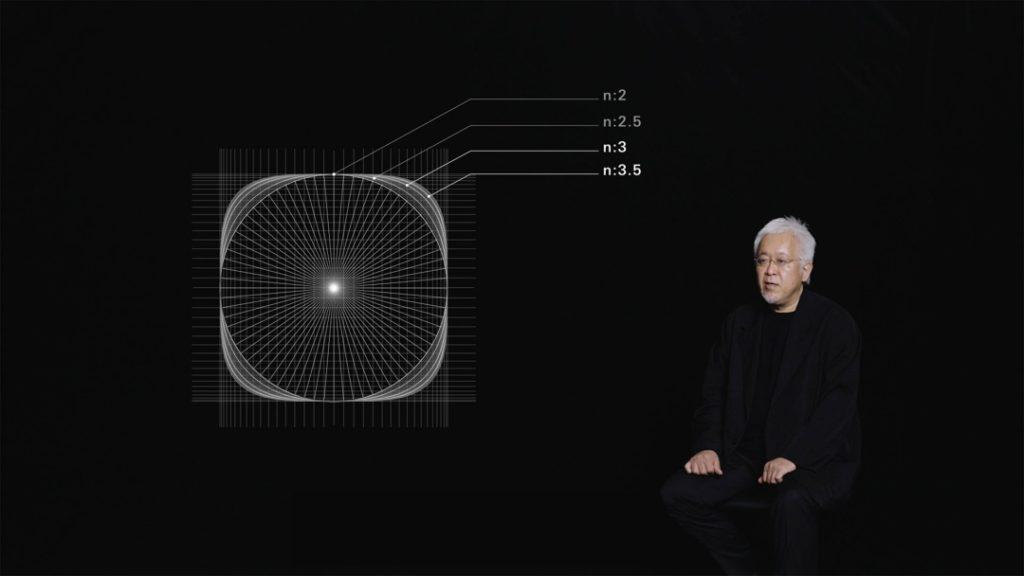 原研哉利用超橢圓(Superellipse)數學公式模擬外觀,最終得出這個介於方形與圓形之間,帶有橢圓的形狀是最適中,且最能體現Alive意念的圖形。