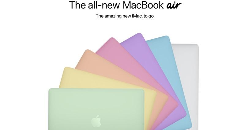 和今年發表的iMac一樣,MacBook Air亦或提供七種不同顏色供消費者挑選。(image via 9to5Mac)